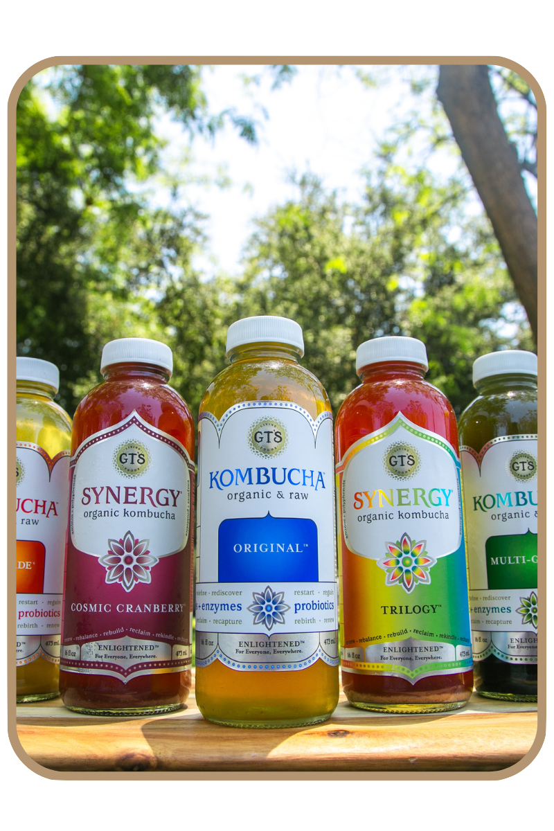 Five flavors of GT's kombucha, including the original flavor