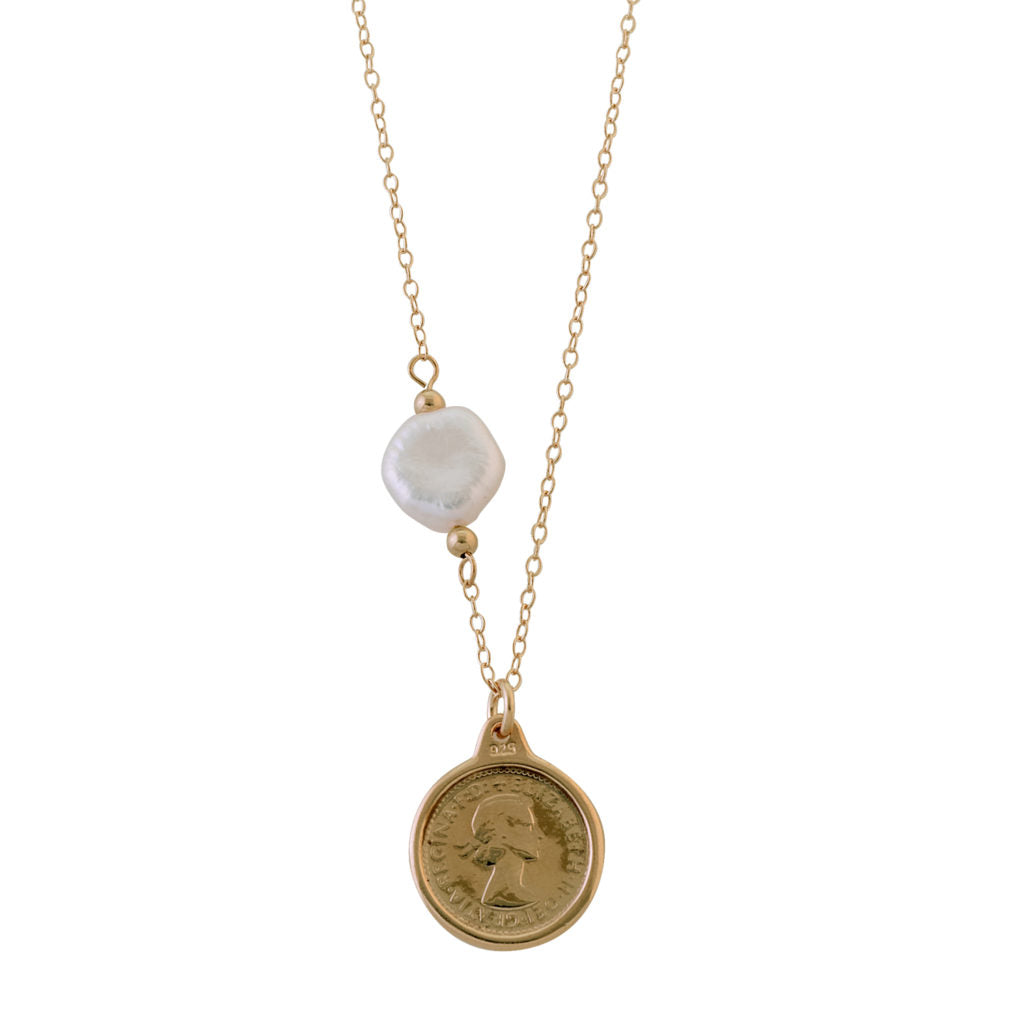 Threepence Necklace With Keshi Pearl Yellow Gold