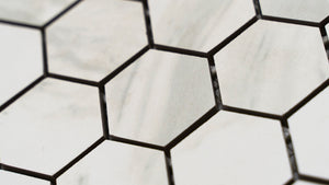 2x2 Hexagon Volakas White Porcelain Tile