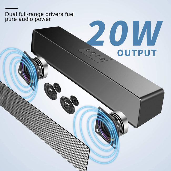 Speakers for 20W Bluetooth 5.0, Dual Speakers, 3.5mm Aux Input & TF.