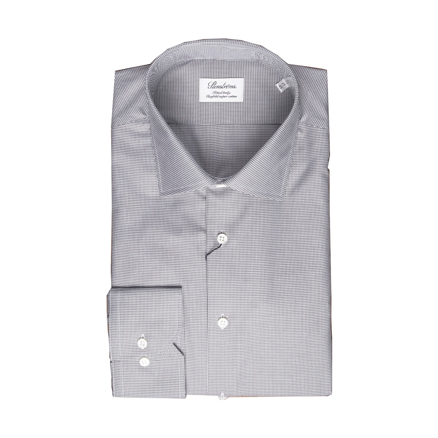 Grey Houndstooth Fitted Body Dress Shirt