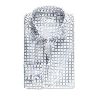 White Patterned Fitted Body Shirt