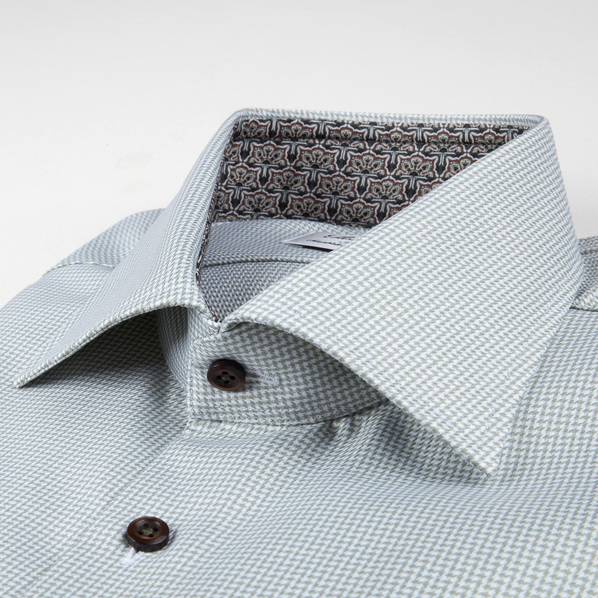 Green Micro-Check Dress Shirt