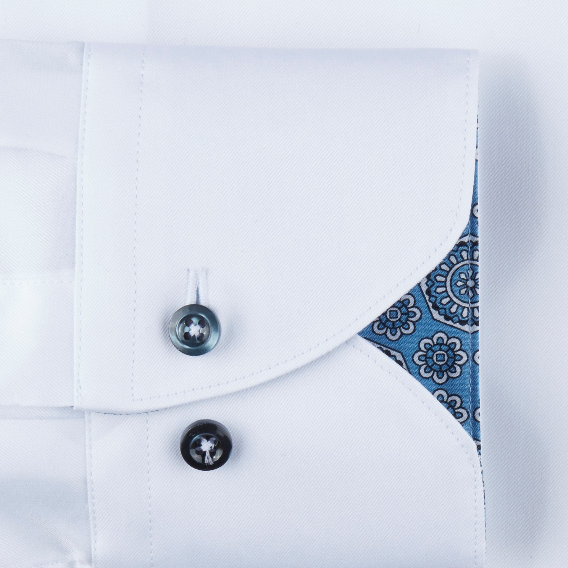 White Contrast Button Dress Shirt