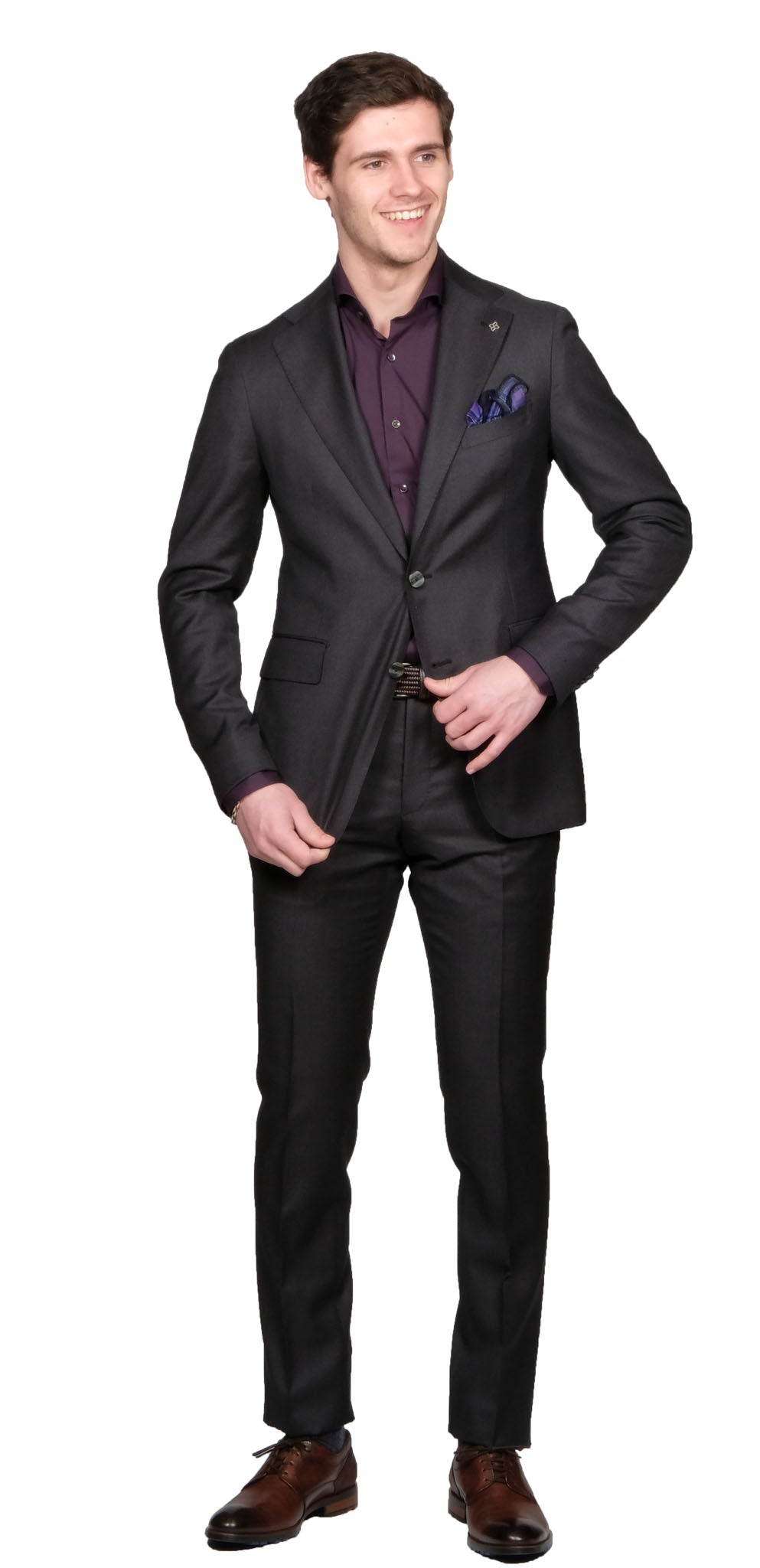 Tagliatore Nailhead Charcoal Suit - Mr. Derk Apparel Ltd.