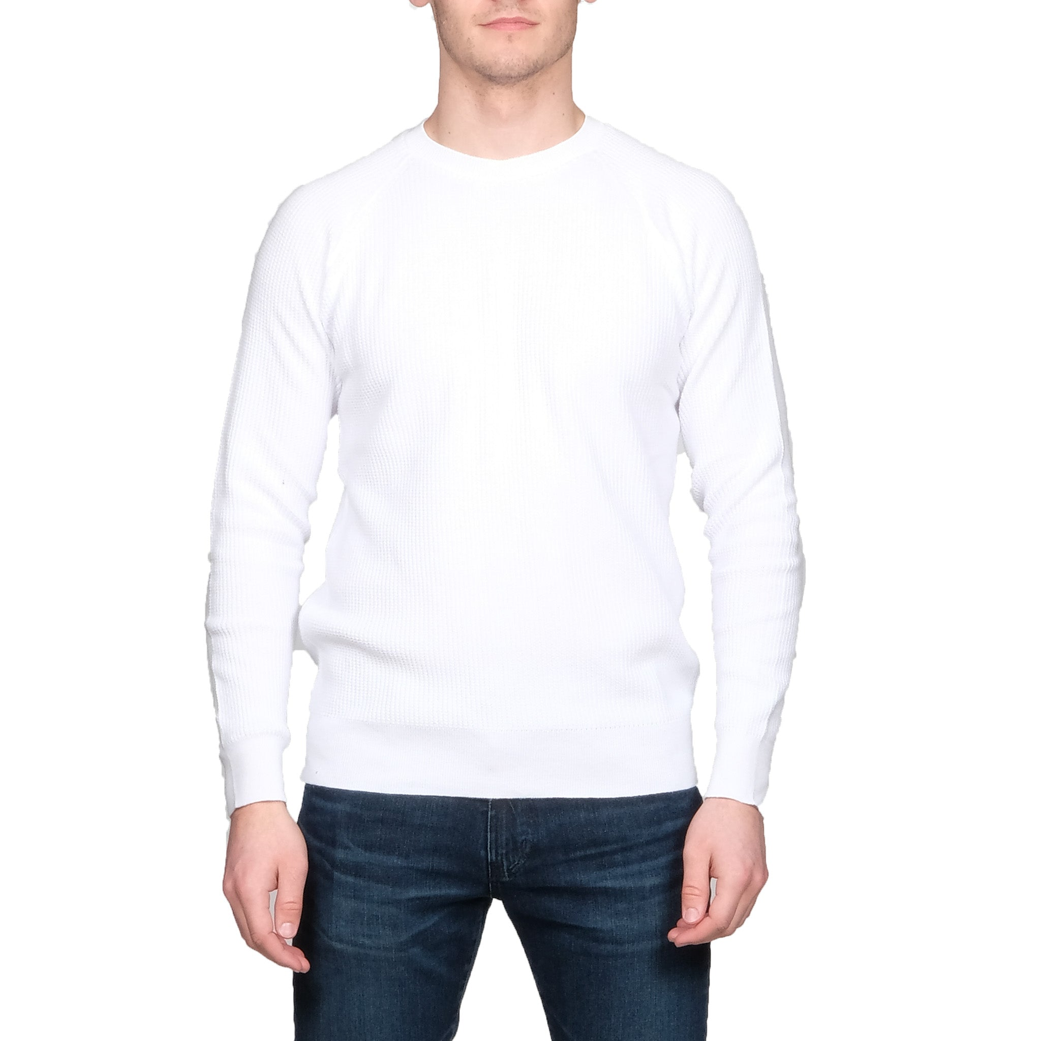 White Waffle Crew Long Sleeve - Mr. Derk Apparel Ltd.