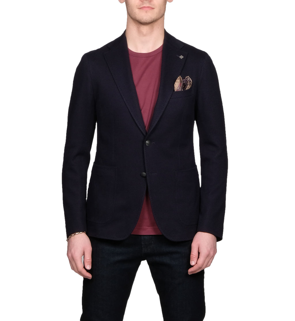 Tagliatore Textured Stretch Navy Blazer - Mr. Derk Apparel Ltd.