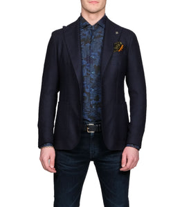 Tagliatore Peak Lapel Navy Blazer - Mr. Derk Apparel Ltd.