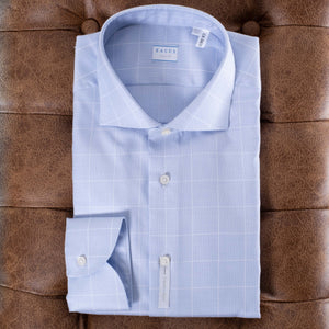 Blue Checked Stretch Active Dress Shirt