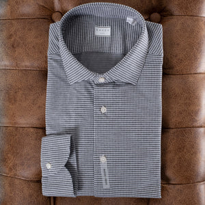Brown Houndstooth Stretch Active Dress Shirt