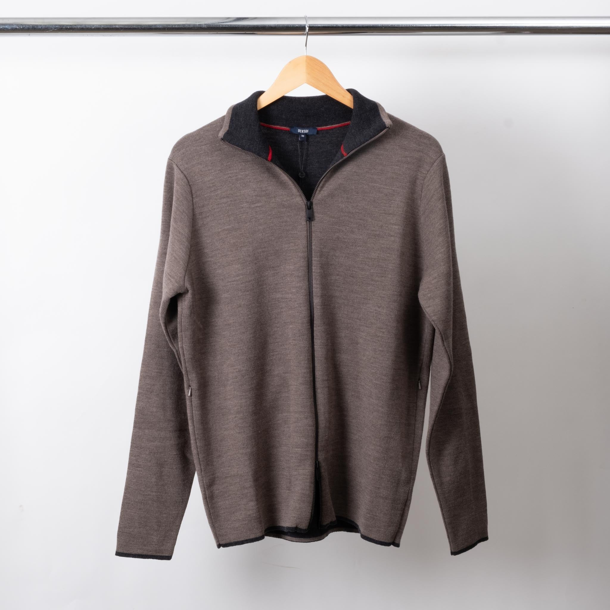Brown Full Zip Wool Sweater