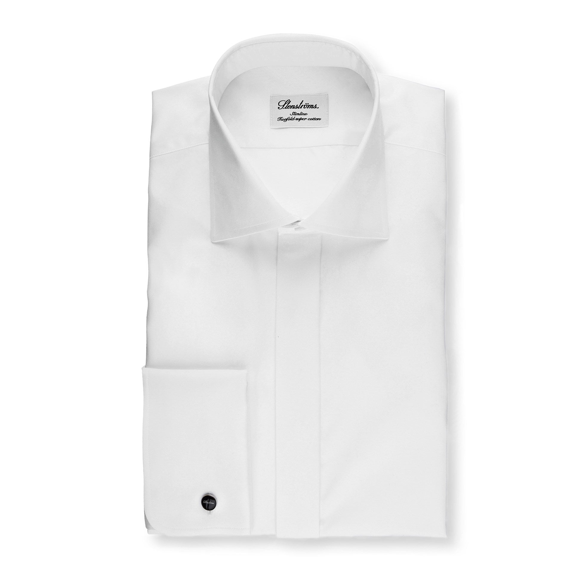 White Twill Fly Front Dress Shirt