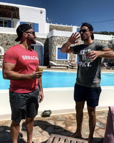 Guys by Pool In Greece Wearing Sriracha T-shirts