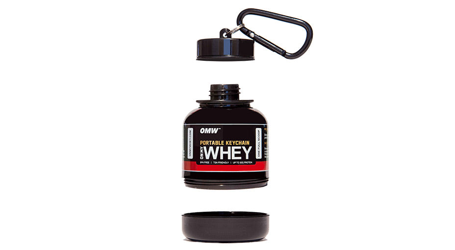 On My Whey Protein Keychain Dual Cap Design
