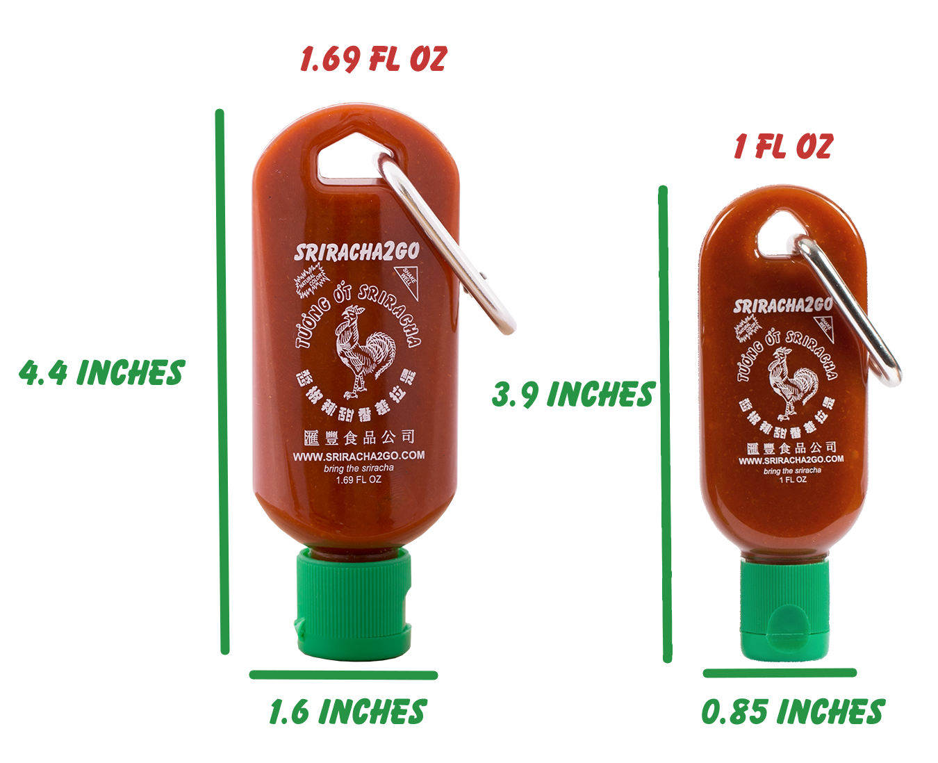 Sriracha 2 Go Size Comparison Rulers