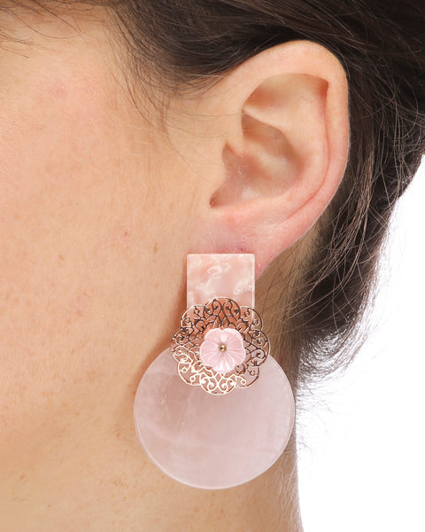 PINK DISK WITH GOLD DETAIL EARRINGS