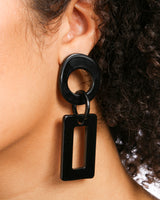 BLACK SQUARE AND CIRCLE DROP EARRING