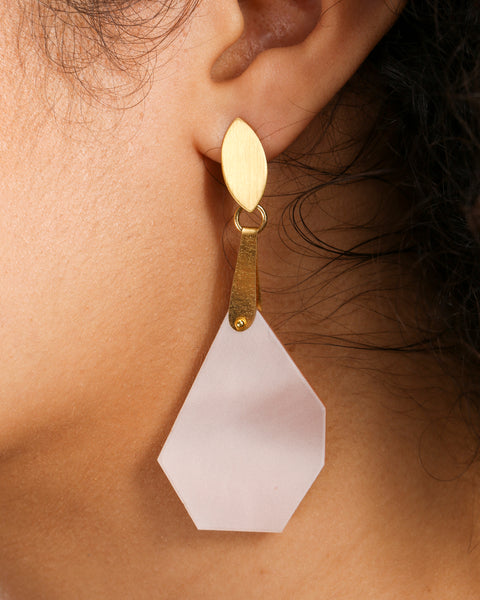 MODERN BLUSH COLOR EARRINGS WITH 24 KARAT DETAIL