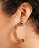HALF CIRCLE CRYSTAL EARRINGS