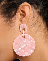 PINK PLASTIC DISK EARRINGS