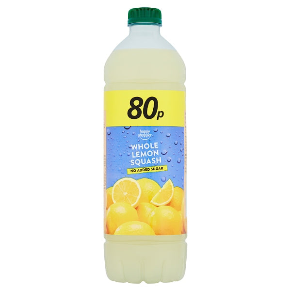 Happy Shopper No Added Sugar Whole Lemon Squash 1 Litre, Case of 12