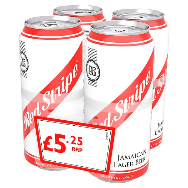 Red Stripe Jamaican Lager Beer 4 x 440ml Can, Case of 6