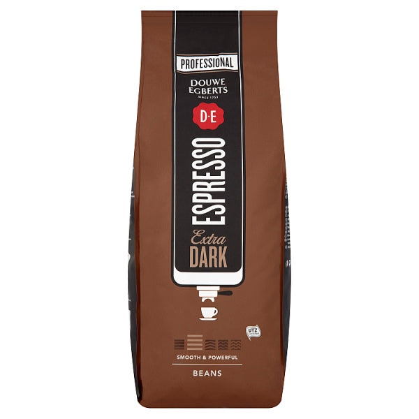 Douwe Egberts Extra Dark UTZ Espresso Coffee Beans 1kg, Case of 6