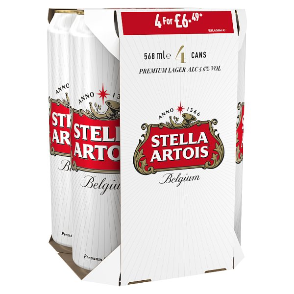 Stella Artois Belgium Premium Lager Beer Cans 4 x 568ml, Case of 6