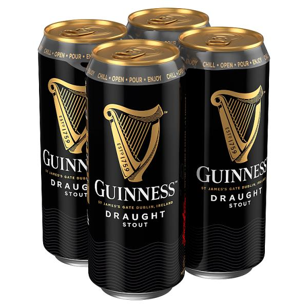 Guinness Draught Stout Beer 4 x 470ml Can, Case of 24