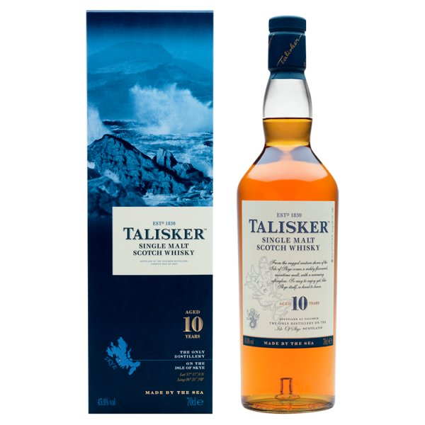 Talisker 10 Year Old Single Malt Scotch Whisky 70cl with Gift Box, Case of 6
