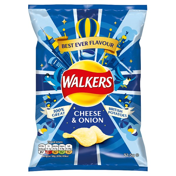 Walkers Cheese & Onion Crisps 32.5g, Case of 32