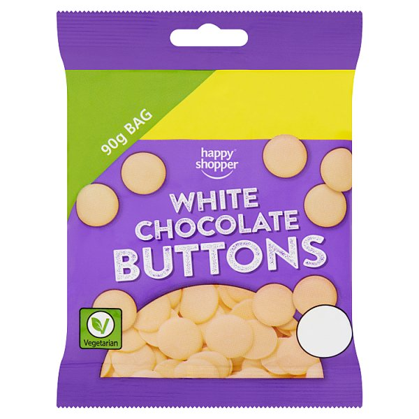 Happy Shopper White Chocolate Buttons 90g, Case of 10