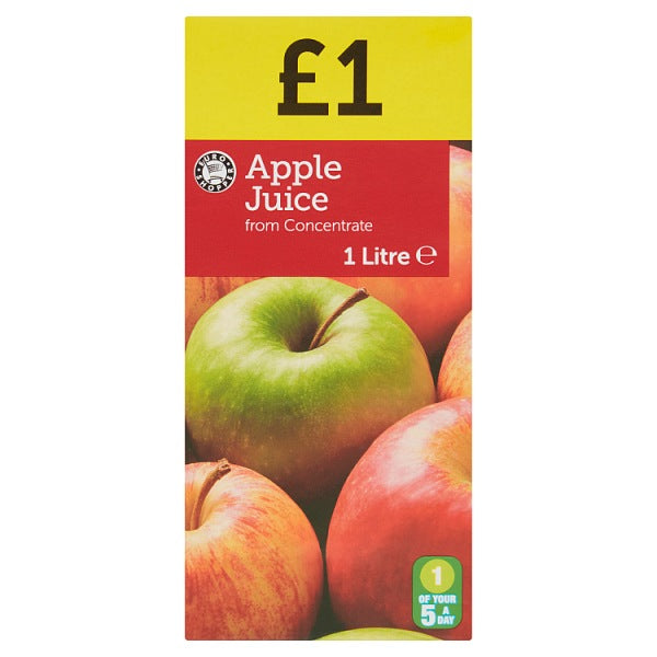 Euro Shopper Apple Juice from Concentrate 1 Litre, Case of 12