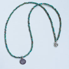 Load image into Gallery viewer, Lotus Flower Turquoise Necklace