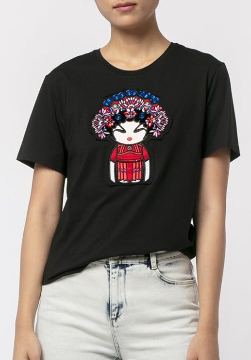 FLOWER OPERA GIRL STUDDED T-SHIRT