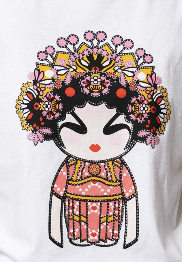 FLOWER OPERA GIRL WHITE STUDDED T-SHIRT