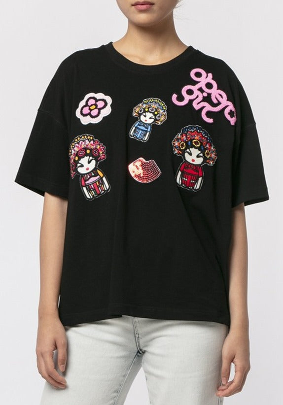 MULTI OPERA GIRL BADGES T-SHIRT