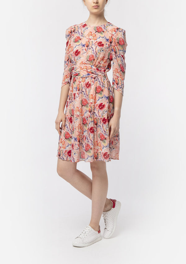 POMEGRANATE FLOWER RUCHED DRESS