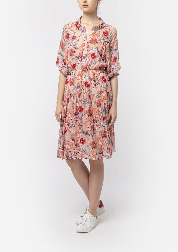 POMEGRANATE FLOWER COLLAR DRESS