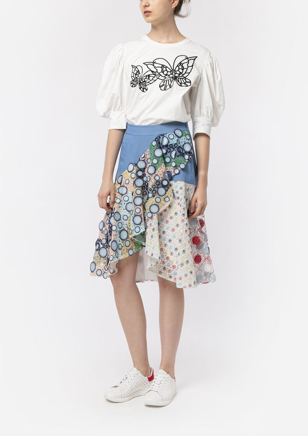 EMBROIDERED LACE LASER CUT PATCHWORK SKIRT