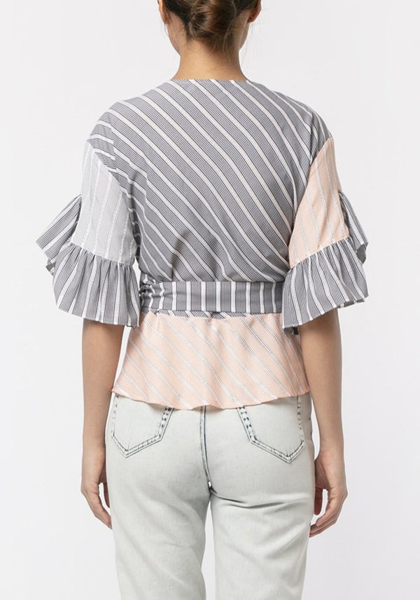 STRIPE EMBROIDERED PATCHWORK WRAP TOP