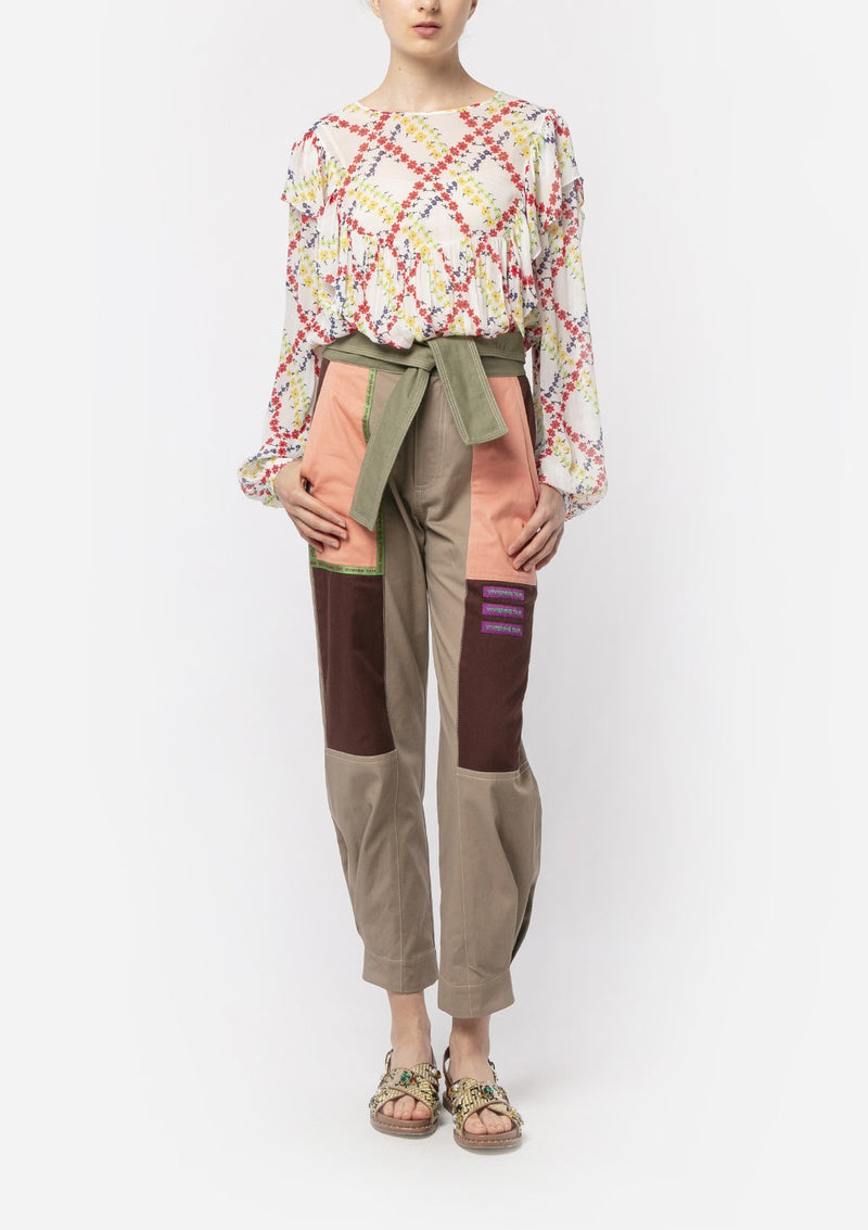 COTTON WOVEN PATCHWORK PANTS