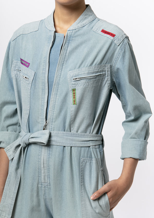 VT DENIM PATCHWORK JUMPSUIT