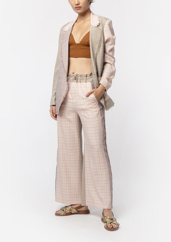 PLAID WOVEN TROUSERS