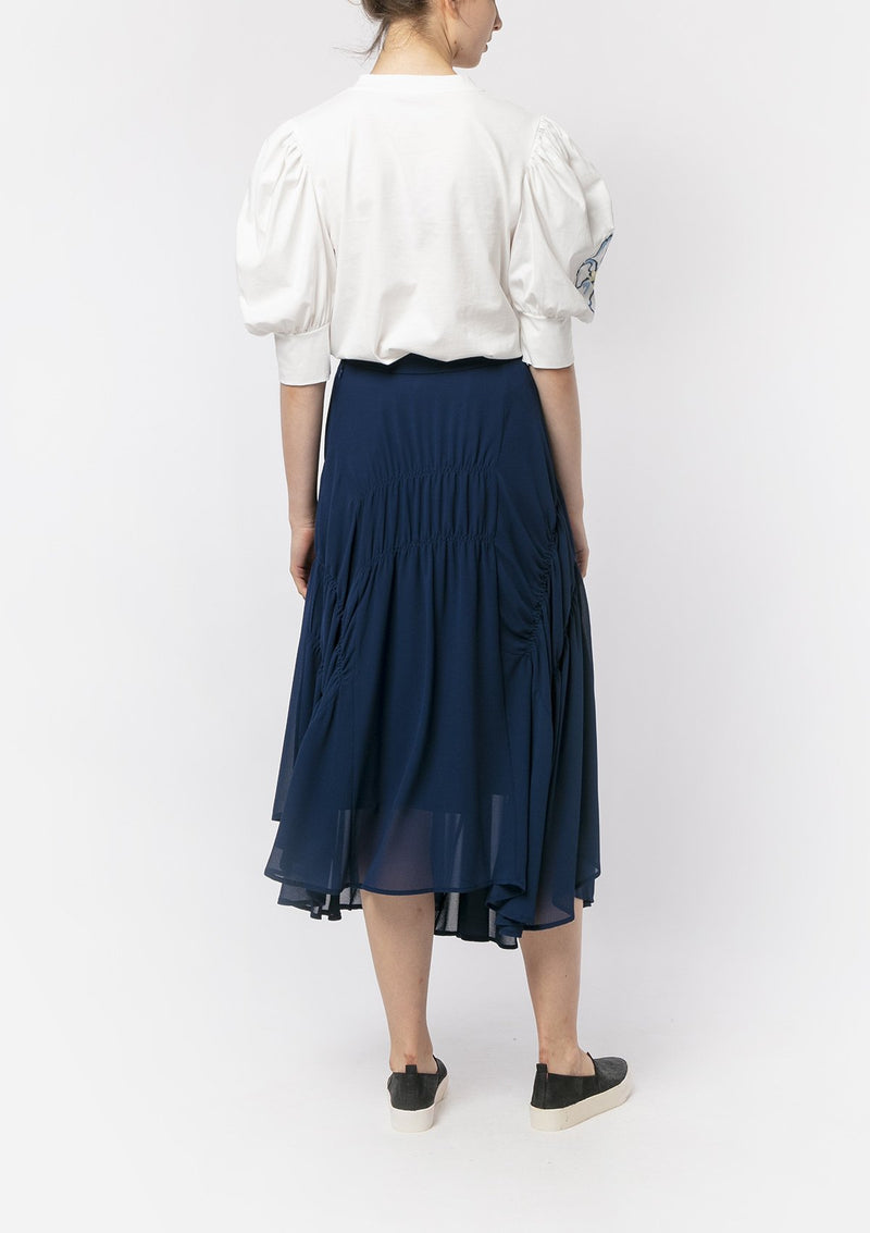 NAVY CHIFFON RUCHED MIDI SKIRT