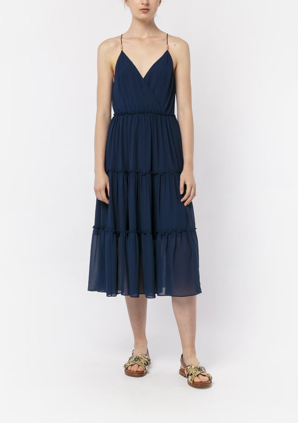 NAVY CHIFFON BOHO MIDI DRESS