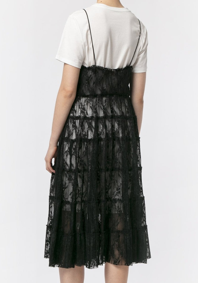 BLACK PLEATED CORDING LACE DRESS