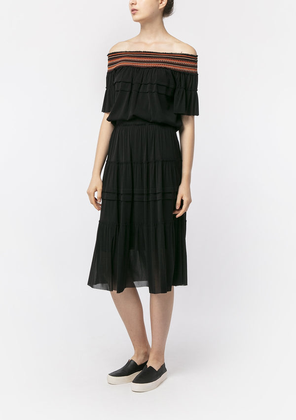 BLACK PLEATED PRAIRIE MIDI SKIRT