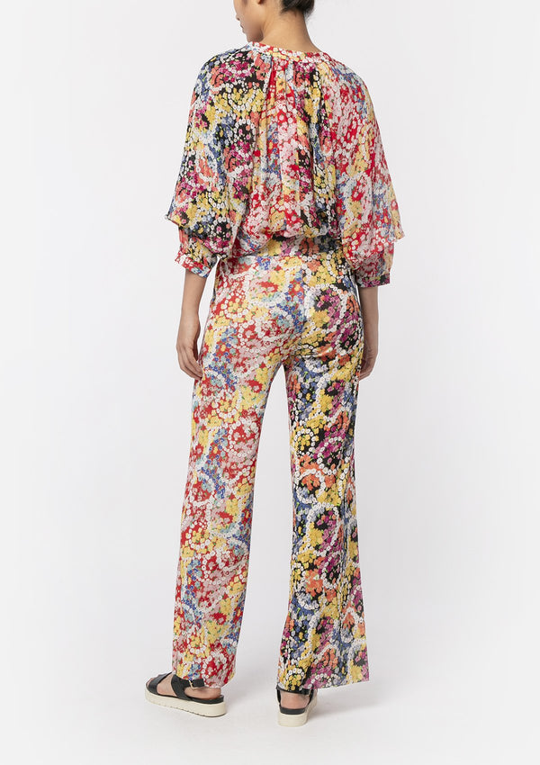 FLOWER POWER CHIFFON LANTERN BLOUSE