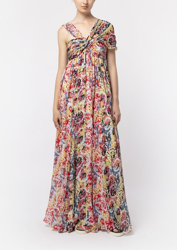 FLOWER POWER CHIFFON MAXI DRESS
